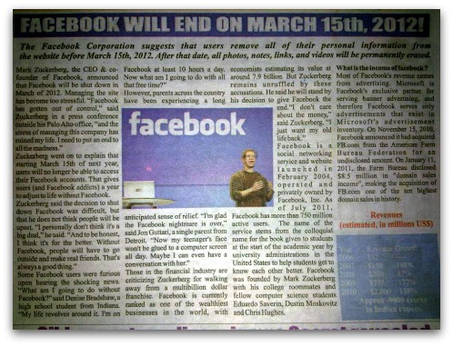 Facebook will end, bogus news report
