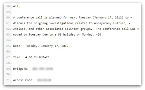 Conference call email, republished by Anonymous
