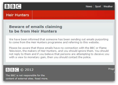 Heir Hunters warning from the BBC