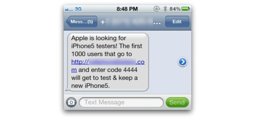 iPhone 5 text scam on a mobile phone