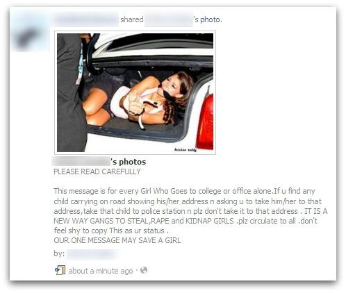 Kidnap warning spread on Facebook