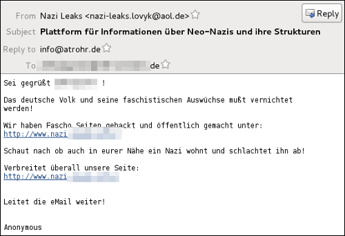 Anonymous spam about neo-nazis