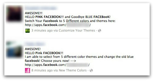 Pink Facebook scam messages
