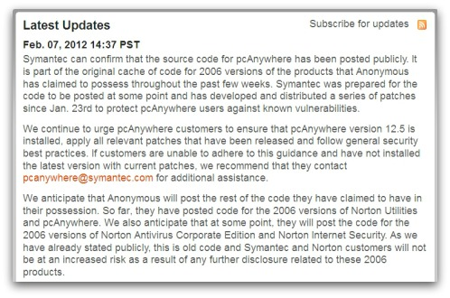 Symantec statement