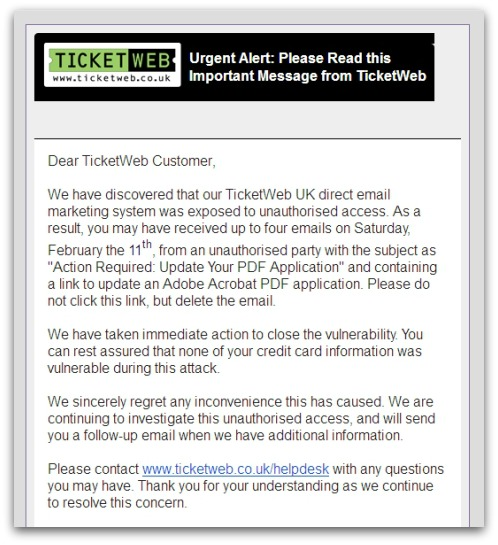 TicketWeb email warning