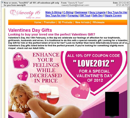 valentine's spam email