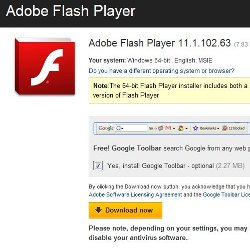Flash Player download page