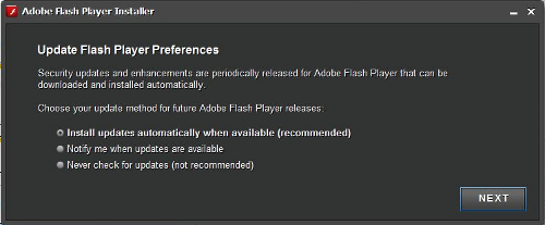 New Adobe Flash Player update options