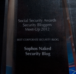 Naked Security award from RSA 2012