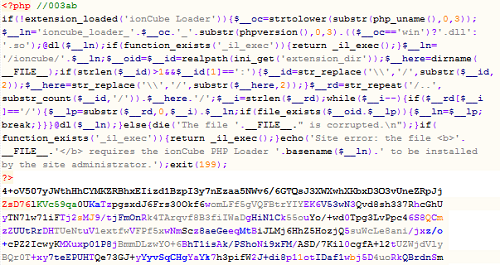 Figure 1: The effect of ionCube encoding on one of the Blackhole exploit kit PHP scripts