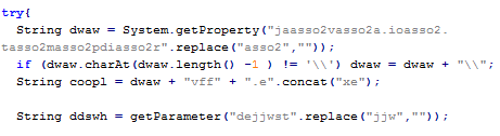Figure 12: Some simple string obfuscations within Blackhole Java content