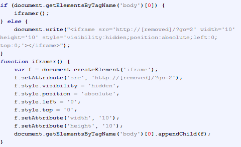 Figure 4: Deobfuscated redirection script from Figure 3 revealing the characteristic function iframer() payload