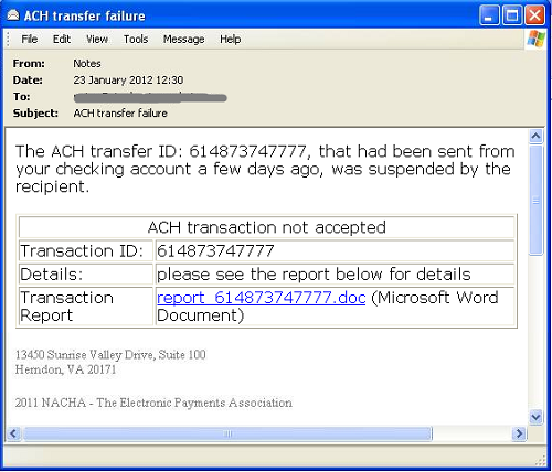 Figure 5a: Example spam messages used to trick users into browsing to sites hosting Blackhole exploit kit