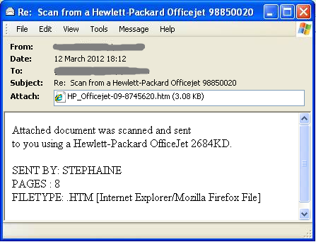 Figure 5b: Example spam messages used to trick users into browsing to sites hosting Blackhole exploit kit