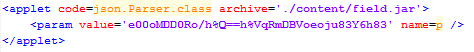 Figure 6: An applet HTML element used to load malicious Java content. Note the obfuscated URL passed in via the applet parameter