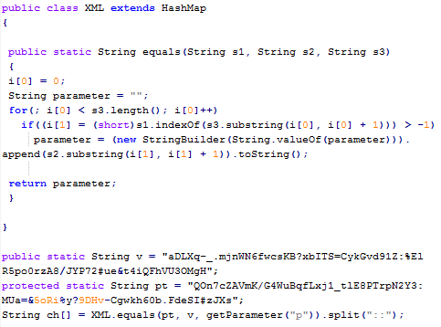 Figure 7: Snippet of Java code responsible for decoding the obfuscated URL included as a parameter in the applet element of Figure 6