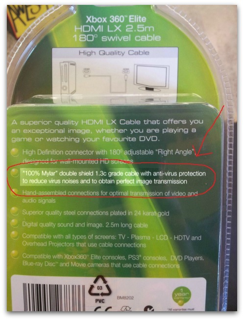 Marketing blurb on back of Xbox 360 Elite HDMI Swivel Cable packaging