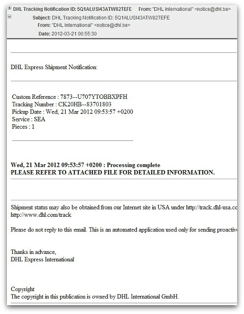 Malicious email claiming to come from DHL. Click for larger version