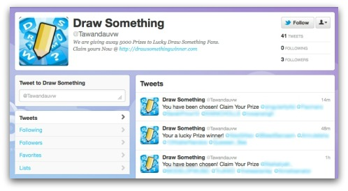 Draw Something survey scammer on Twitter. Click for larger version