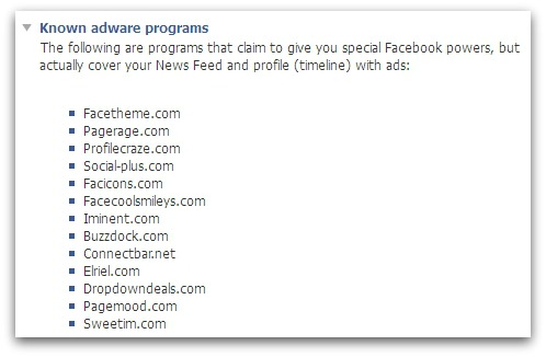 Facebook lists adware programs