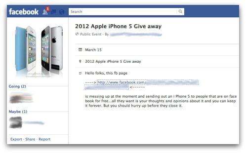 Facebook iPhone 5 giveaway