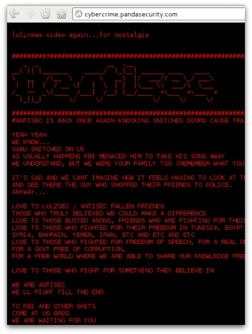 Panda Security website hacked. Click for larger version