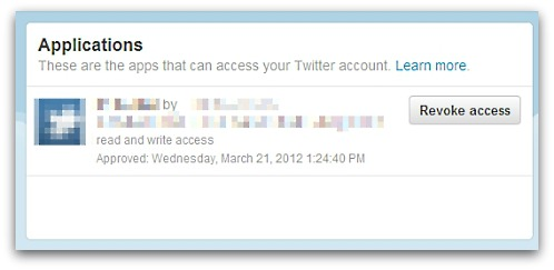 Revoke an application's access to your Twitter account