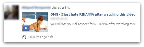 Rihanna Facebook scam