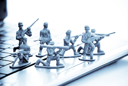 Army men on a laptop courtesy of Shutterstock