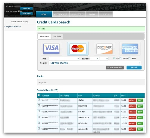 Searching for stolen credit card details