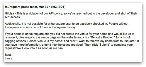 Response from Foursquare