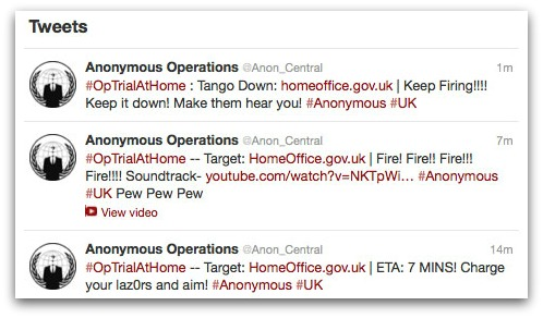 Tweets from Anonymous about attack on UK Home Office