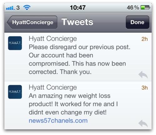 Hyatt Twitter account hacked