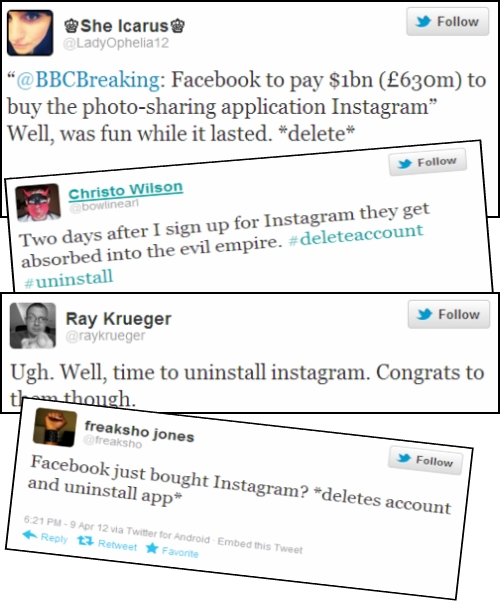 Tweets regarding Instagram purchase by Facebook