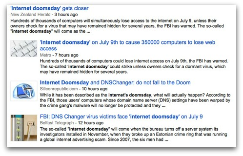 Internet doomsday news reports