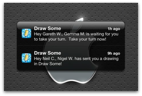 Game notifications on iOS. Image source: Gareth Wright