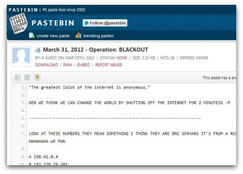 Post on PasteBin about Operation Blackout