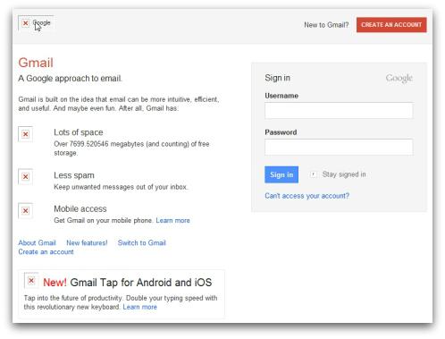 Gmail phishing website