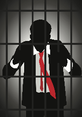 suited man behind bars