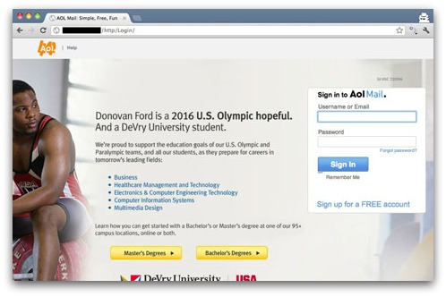 Fake AOL login screen