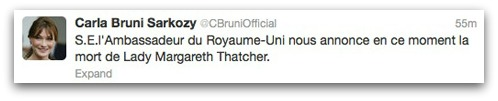 False Carla Bruni tweet