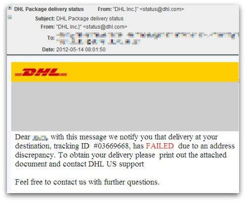 DHL malware campaign