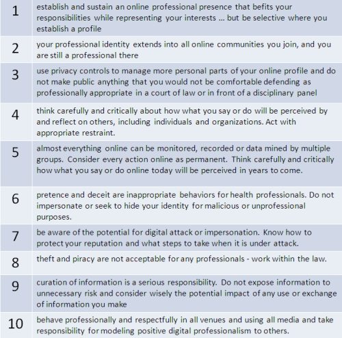 Digital professionalism framework