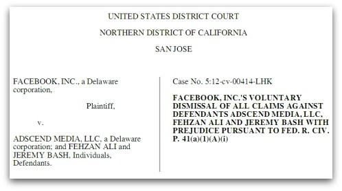 Facebook dismisses case against Adscend