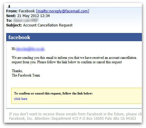 Malicious email claiming to come from Facebook