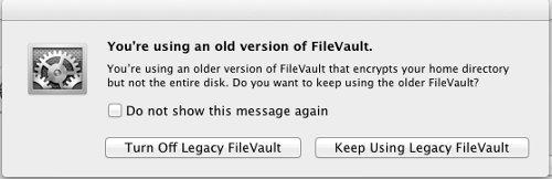 FileVault 2 upgrade option