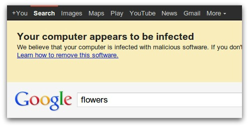 Google warning message