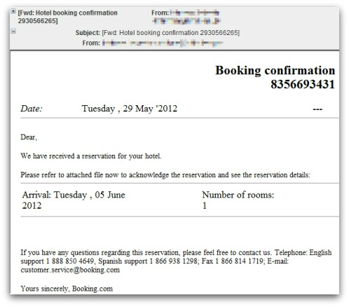 Hotel booking malware