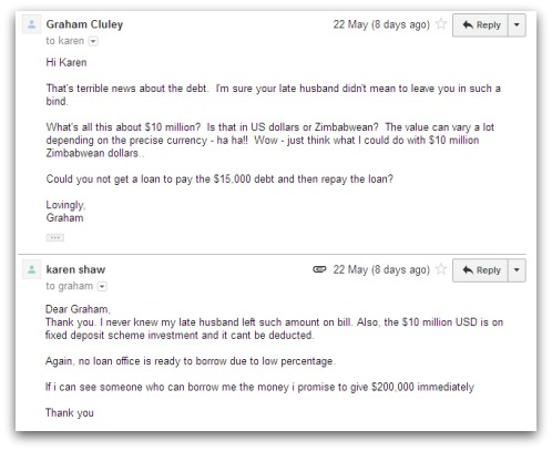 Email from 'Karen Shaw'
