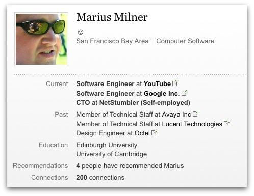 Marius Milner's LinkedIn profile